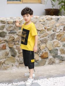 2019城秀男童夏新款黄色T恤