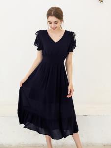 艾诺绮夏季新款黑色连衣裙