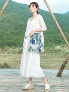 2019谷度白色亚麻连衣裙