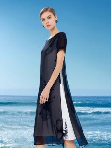 DU迪如女装新款黑色假两件连衣裙