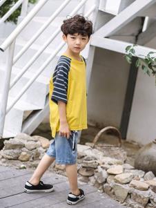 2019城秀男童夏新款拼接T恤
