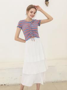 艾诺绮夏季新款白色半身裙
