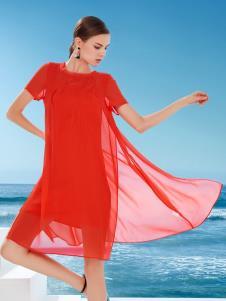 迪如女装DU迪如女装新款红色连衣裙