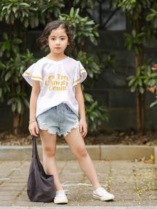 2019城秀女童夏新款白色T恤