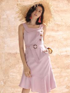 betu百图女装粉色收腰吊带裙