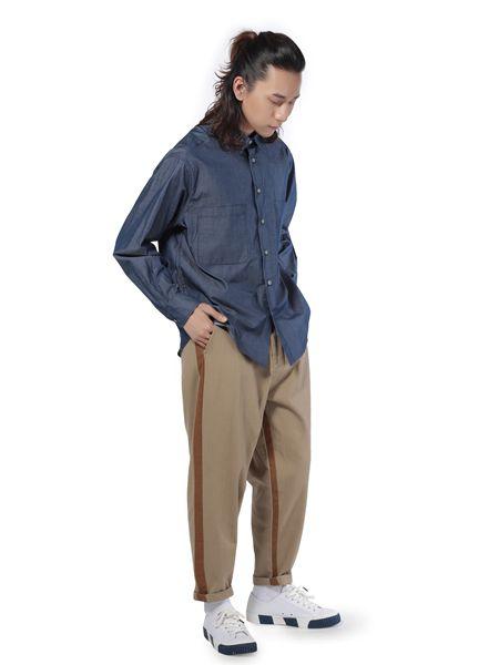 第二印象男装蓝色牛仔衬衫