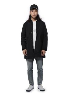 第二印象男装黑色宽松外套
