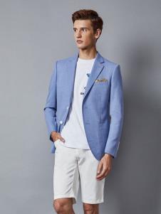 埃沃定制男装浅蓝色休闲西服