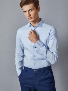 埃沃定制男装新款浅蓝色衬衫