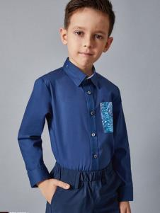 埃沃定制男童新款蓝色衬衫