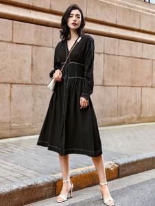 搜美女装黑色优雅连衣裙