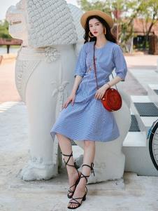 搜美女装蓝色连衣裙