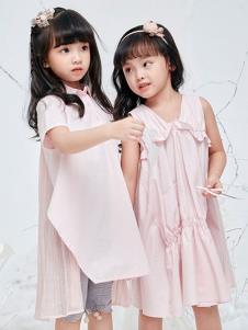 DIZAI棣仔童裝女童粉色連衣裙