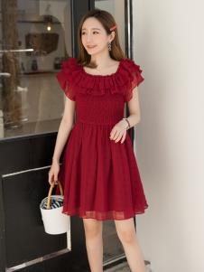 LIYA LISA莉雅莉萨酒红连衣裙