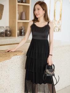 LIYA LISA莉雅莉萨黑色吊带裙