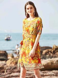 惠之良品品牌折扣女装黄色印花裙