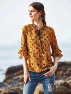 惠之良品品牌折扣女装黄色复古衬衫