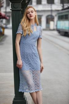 唯媚女装蓝色蕾丝连衣裙