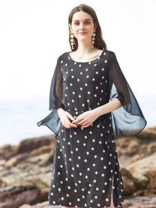 惠之良品品牌折扣女装波点雪纺裙