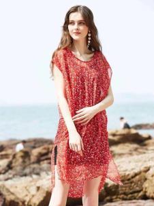 惠之良品品牌折扣女装红色雪纺裙