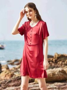 惠之良品品牌折扣女装酒红色连衣裙
