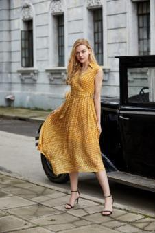 唯媚女装雪纺黄色连衣裙