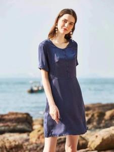 惠之良品品牌折扣女装蓝色连衣裙