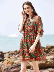 惠之良品品牌折扣女装夏复古连衣裙