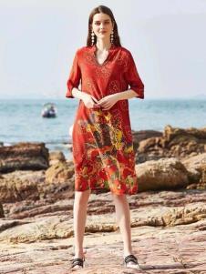 惠之良品品牌折扣女装红色连衣裙