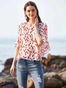惠之良品品牌折扣女装红色波点雪纺衫