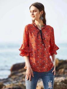 惠之良品品牌折扣女装红色中袖衬衫