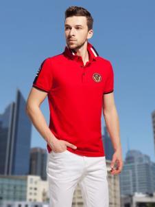 袋鼠男装红色polo衫19新款