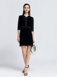 2019音非女装黑色中袖连衣裙