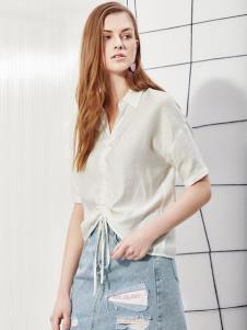 2019丽芮女装夏白色简约上衣