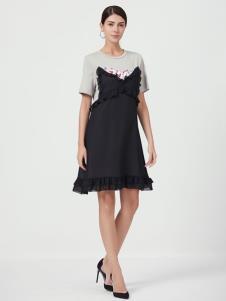设计师Ms.Leyna女装拼接连衣裙
