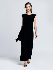 2019音非修身黑色连衣裙