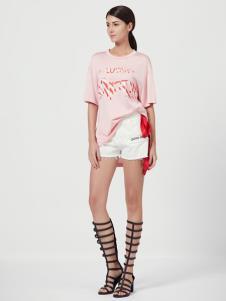 Ms.Leyna女装夏粉色T恤
