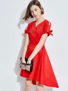 2019歐炫爾女裝夏新款紅色連衣裙