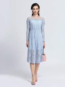 2019音非浅蓝色蕾丝裙