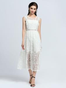 2019音非女装白色连衣裙