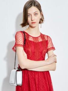 2019欧炫尔红色蕾丝裙