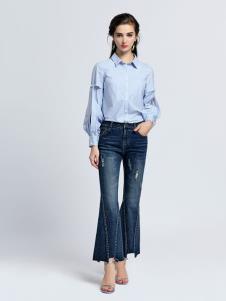 2019音非女装浅蓝色衬衫