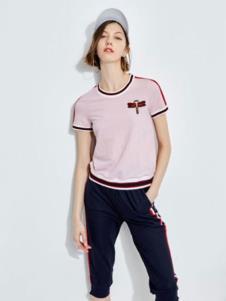 2019欧炫尔女装粉色T恤