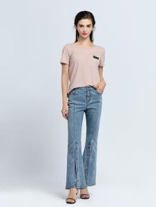 2019音非女装粉色T恤