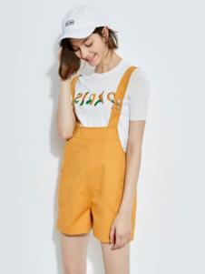 2019欧炫尔女装背带短裤