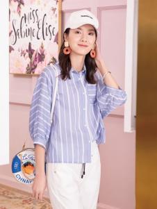 2019布根香女装条纹衬衫