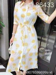 雨珊女装黄色波点衬衫裙
