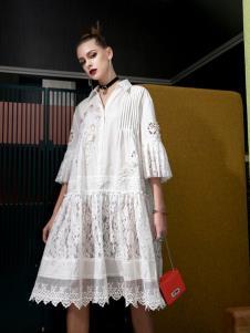飞范女装白色蕾丝裙