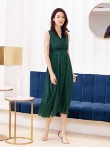 2019布根香绿色优雅连衣裙