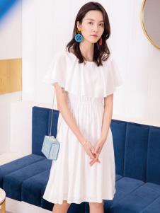 2019布根香女装白色连衣裙